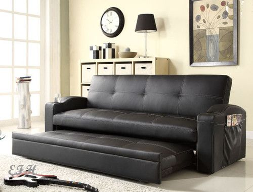 New novak black bycast leather futon sofa bed lounger w for World of futons ebay
