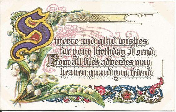 Happy Birthday Poem Sincere and Glad Wishes by postcardsintheattic New Listing: #postcard #ephemera #antique #vintage #vintagepaper #etsy #antiquepaper #collectible #antiquepostcard #vintagepostcard #Birthday #Spring