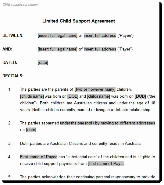 Child Support Agreement Template Awesome Child Support Agreement Template To Document Arrangements Custody Agreement Child Custody Child Support