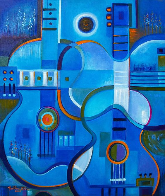 Cubist Abstract Oil painting Original artwork Blue by MarlinaVera
