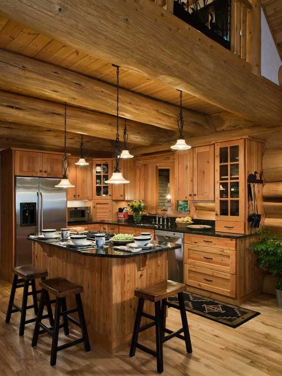 Kitchen maybe a different cabinet color but otherwise it for Small log cabin kitchens