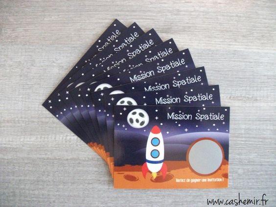 Cartes invitation anniversaire enfant gar on par lot de 8 cartes gratter fus e mars mars et - Theme anniversaire garcon ...