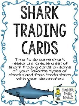 Shark Trading Cards ~ Research and Writing Activity ~ FREE!...Science, Writing, Informational Text 3rd, 4th, 5th, Homeschool Activities, Bulletin Board Ideas..This is a great project that will get your students writing and researching all about different types of sharks! This is a great activity to have students work on when they finish early, during indoor recess, or even when you are meeting with small groups.