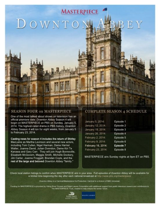 Season 4 airing schedule http www for Downton abbey tour tickets