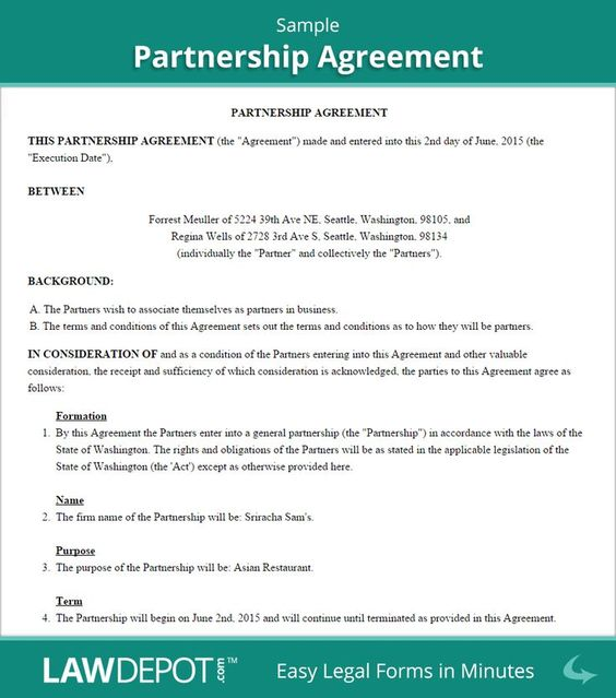 Partnership Agreement Sample Infographic Bitcoin Crypto