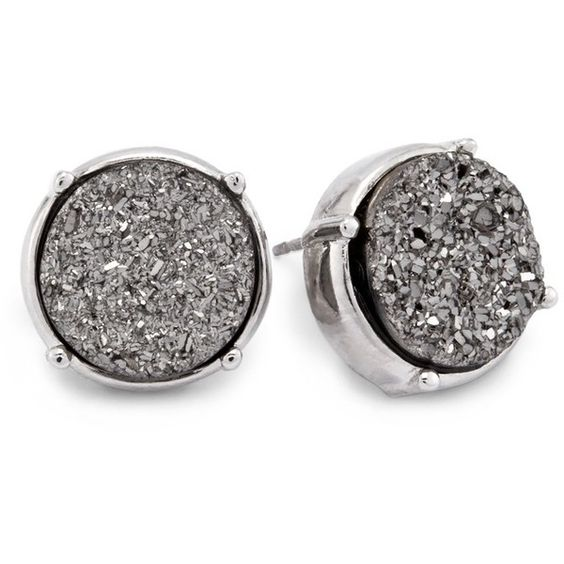 Chico's Jillian Stud Earrings ($13) ❤ liked on Polyvore featuring jewelry, earrings, grey, imitation jewelry, druzy jewelry, plastic earrings, chicos earrings and drusy jewelry