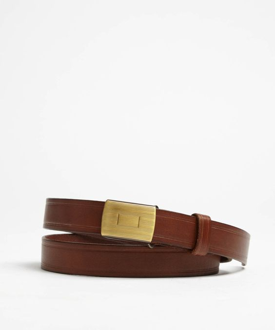 Slider Leather Belt in Brown