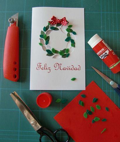 Tarjetas navide as manualidades pinterest b squeda - Manualidades postales navidad ...