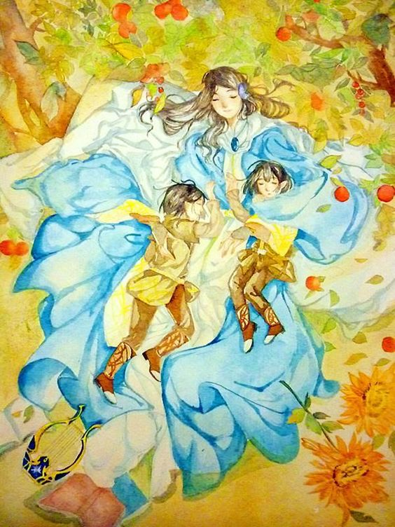 Sweet Dream by EcJetko on deviantART (Maglor, Elrond and Elros)