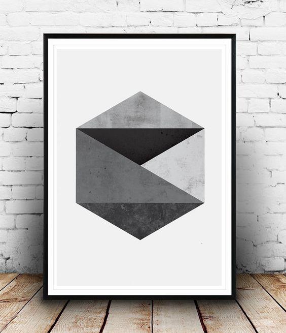 Avskalad retro känsla.  Impresión abstracta, arte geométrico hexagonal patrón imprimir, Print geométrico blanco y negro, arte moderno, cartel gráfico, arte de pared abstracto