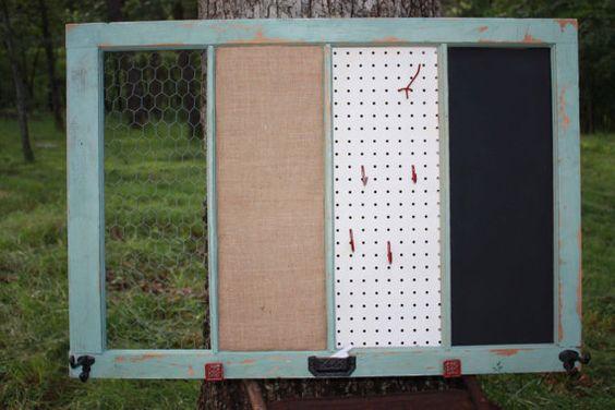 Reclaimed Old Window - Shabby Chic Jade - XL 41x28 - Chalkboard - Burlap Cork Board - Chicken Wire - Peg Board - Farmhouse Chic - Rustic Red