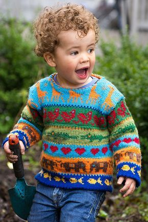 Knitting Pattern for Jungle Sweater - Colorful stranded children's sweater with giraffes, elephants, birds, and more. Sizes 1, 2 and 4 years old. Designed by Cecilie Kaurin and Linn Bryhn Jacobsen. One of the 20 patterns in Creative Colour Knitting.