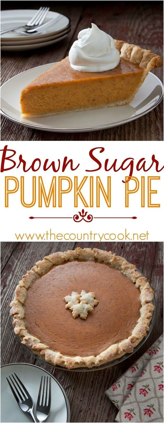 Brown Sugar Pumpkin Pie recipe from The Country Cook. If you are looking for…: