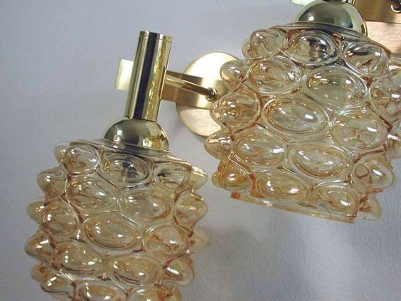 Mid-Century 1960s French Amber Bubble Glass Wall Lamps Sconces | From a unique collection of antique and modern wall lights and sconces at https://www.1stdibs.com/furniture/lighting/sconces-wall-lights/