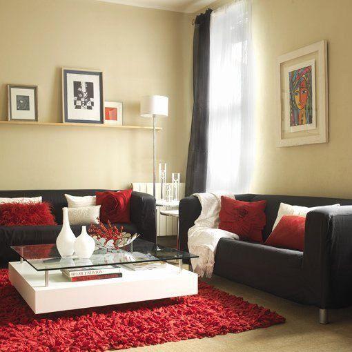 Living Room Idea Red And Cream Inspirational Plementos Decorativos Para Sofas Oscuros Black Living Room Decor Red Living Room Decor Living Room Red