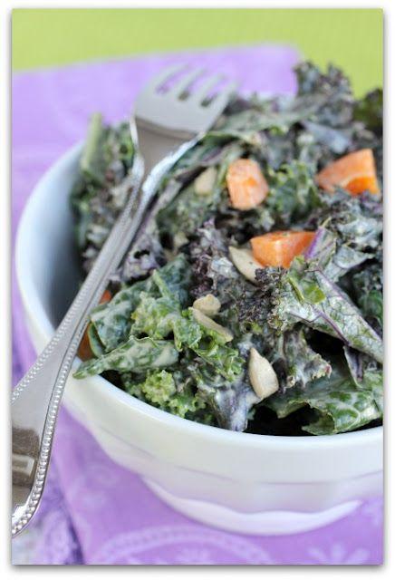 raw kale salad with lemon tahini dressing