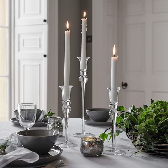 Elegant Small Dinner Candle Holder | Candle Holders | The White Company UK