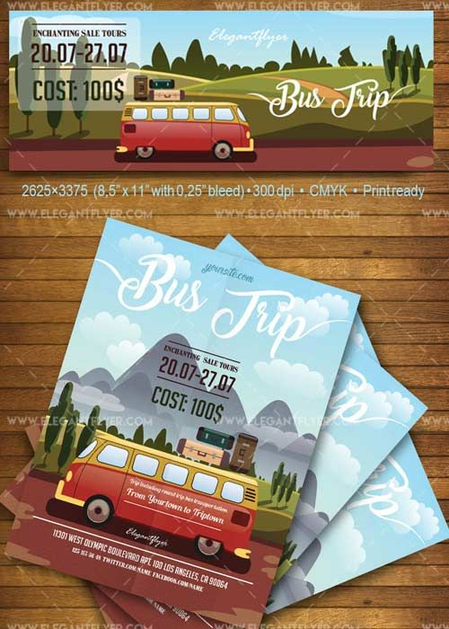 Bus Trip V1 2018 Flyer Psd Template Facebook Cover Free Download