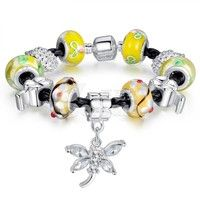 Barbara丨Yellow Murano glass Beads Black Leather Chain Butterfly Charm Bracelet (Size 20cm)