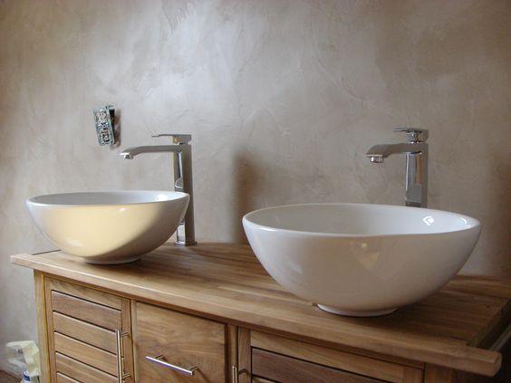 Murs b ton cir salle de bain pinterest - Beton cire sur mur salle de bain ...