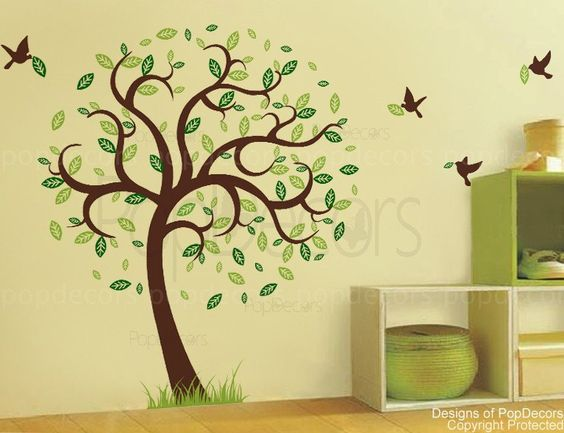 Hope tree with flying birds (78inch H )- Removable Vinyl sticker wall decal mural playroom nursery. $58.00, via Etsy.