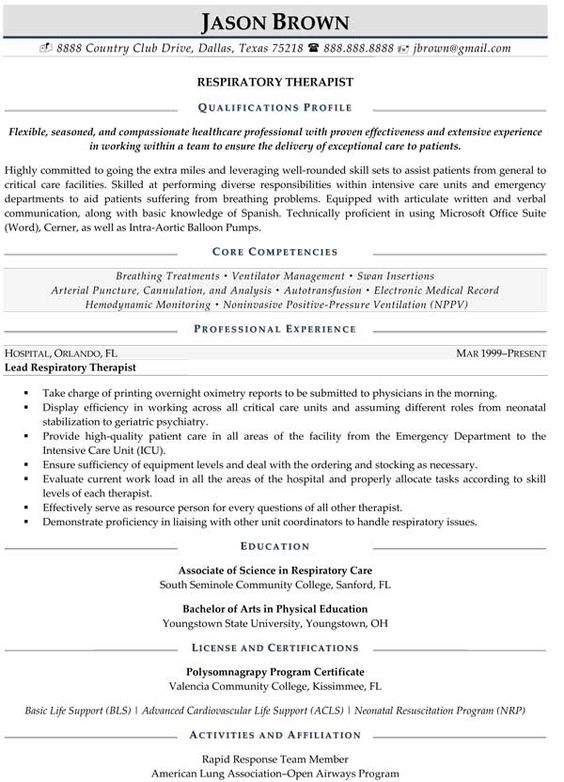 Respiratory Therapist Resume sample resume for respiratory therapist with keyword Respiratory Therapist Resume Sample