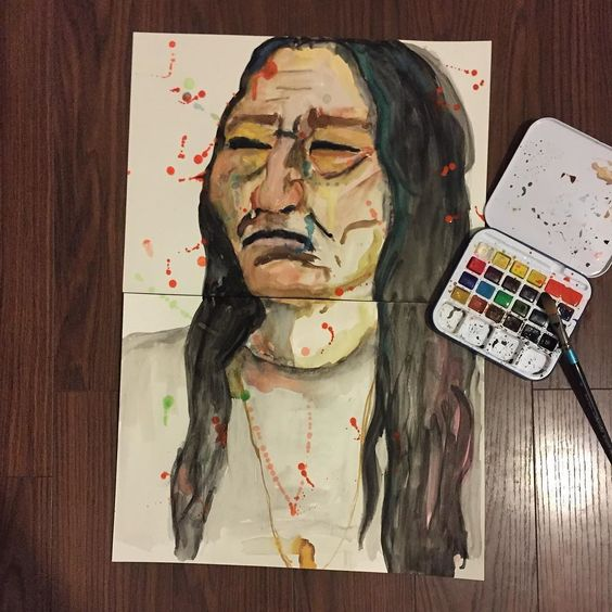 Say something | | #Pile | #portrait #nativeamerican #abstractart #painting #watercolorstudy #watercolors #watercolorpainting #design #homedecor #BLVART #talentedpeopleinc #spotmesisters #artwork by art_of_pile