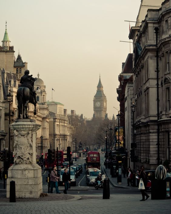 looking down Whitehall from Trafalgar Square toward Parliament