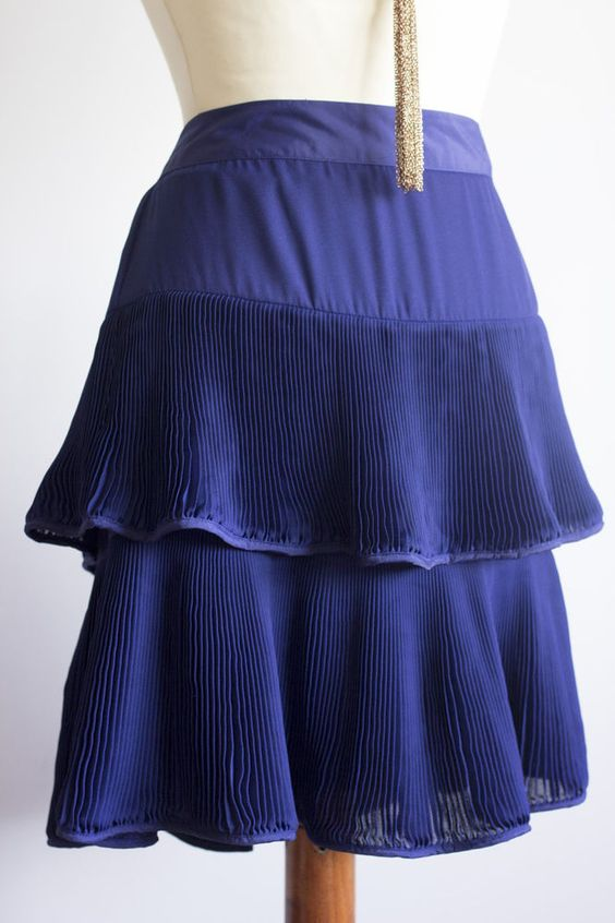 Reiss Skirt Size 10 Navy Blue Cobalt Tiered Ruffle Overlay Fully Lined Nicole #thrifted #ebay #forsale #reiss #size10