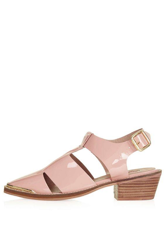 KAKE2 Patent Cut-Out Shoes - Topshop, blush pink sandals