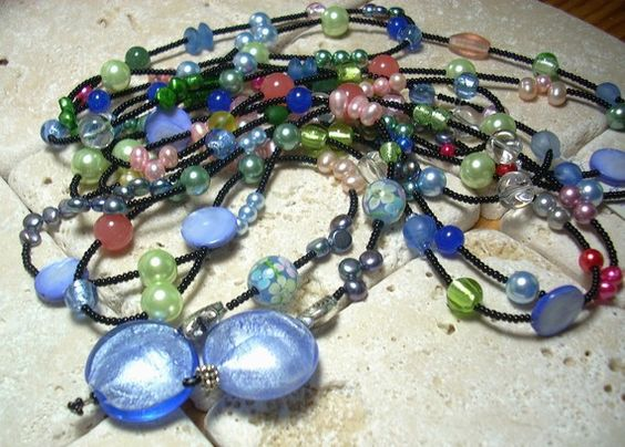 Super Long Pearl Murano Blue and Silver Long by thefamilyjewels3, $69.00