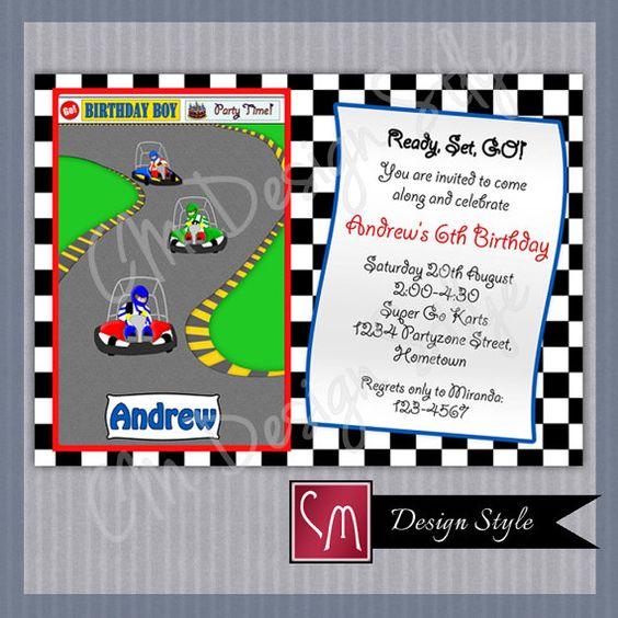 DIY Printable #Birthday Party Invitation Go Kart Racing