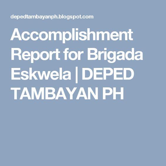 Accomplishment Report for Brigada Eskwela DEPED TAMBAYAN PH - accomplishment report