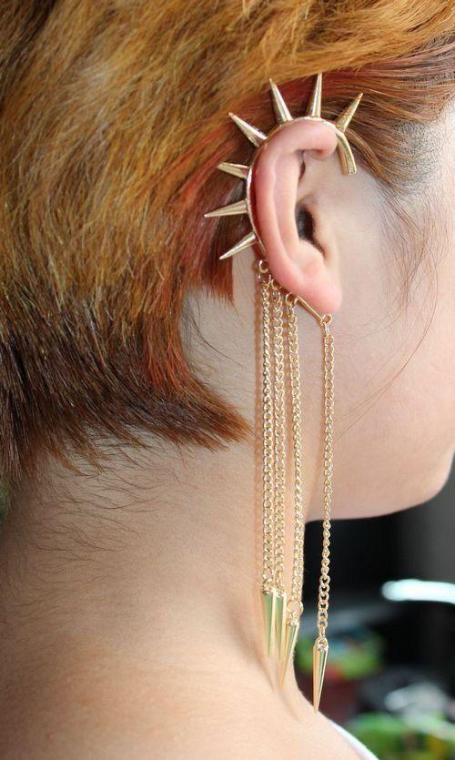 e079 wholesale 24pcs free shipping women fashion jewelry rivet punk dangle link chain clip earring gold ear cuff US $29.00