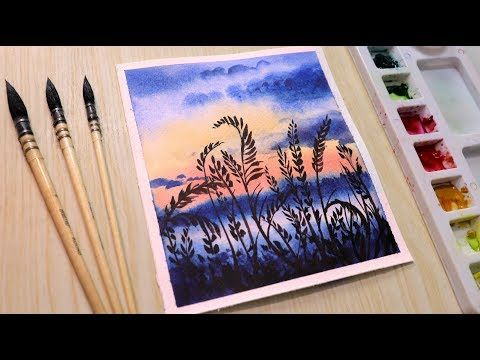 Watercolor Painting For Beginners Sunset Landscape Easy Youtube
