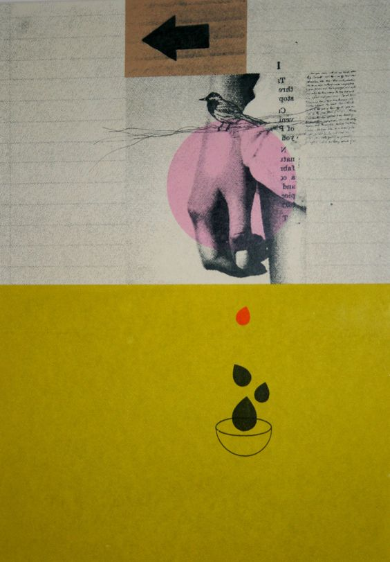 """Rhed Fawell """"Carpal Arch"""" Collage and screenprint"""
