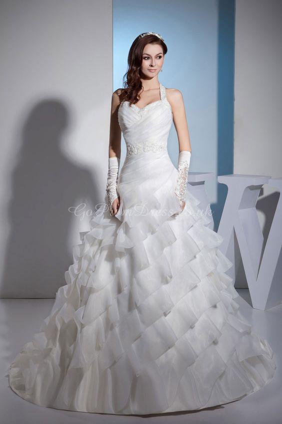Ball Gown Organza Halter Natural Waist Chapel Train Zipper Sleeveless Beading Ruching Ruffles Tier Ivory Wedding Dress - gopromdres.com
