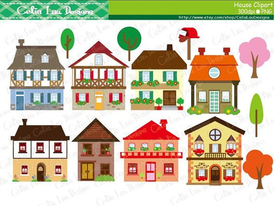 House Clipart, Cute House Clipart set includes 14 cute graphics .  Graphics are PERFECT for the Scrapbooking, Cards Design, Stickers, Paper