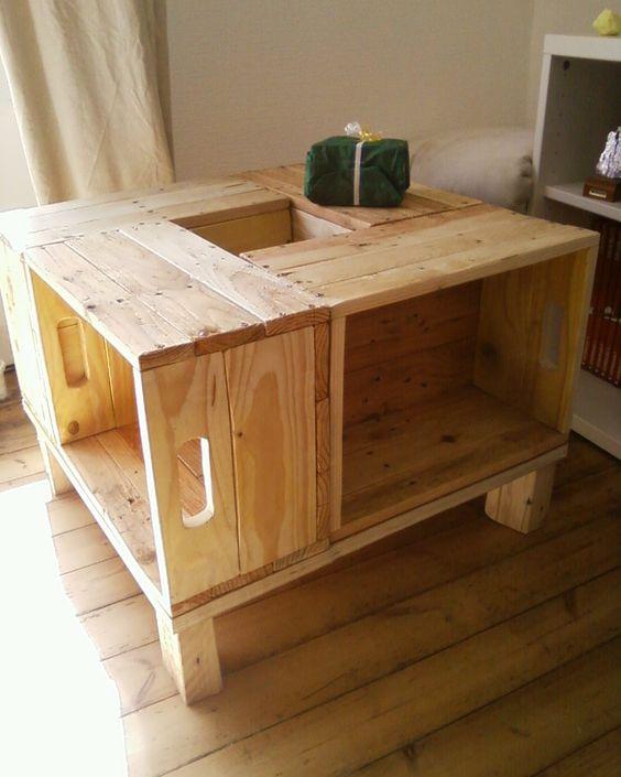 Meuble en bois de palette table basse recherche for Table basse en palette bois