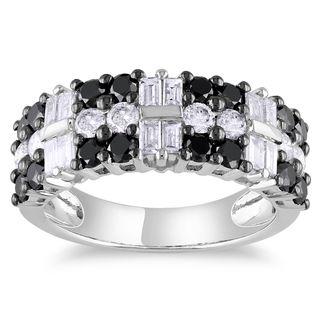 Miadora 14k White Gold 1 7/8ct TDW Black and White Diamond Ring (G-H, I1-I2)