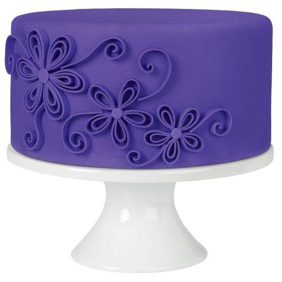 Quilled Flowers Purple Fondant Cake - Combine the trendy ...