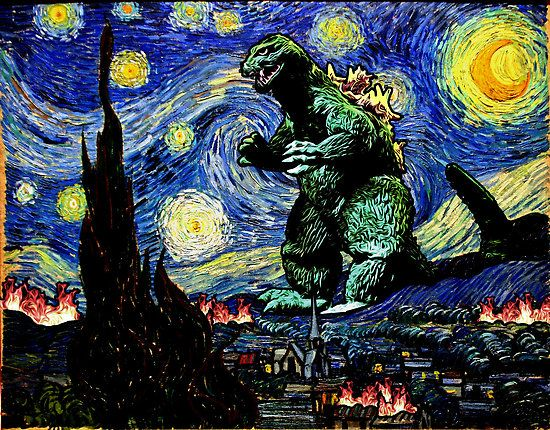 Godzilla versus Starry Night by KAMonkey