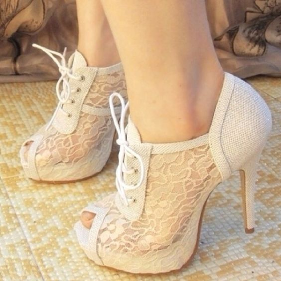 Off- white lace heels | SHOES. | Pinterest | Lace shoes, So cute ...