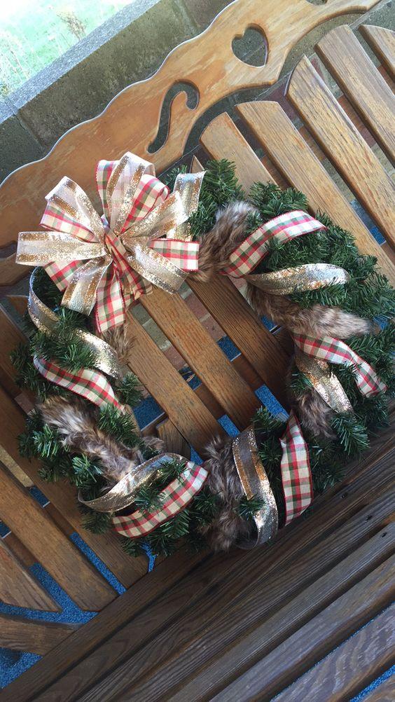 fur detail gold sparkle & plaid Christmas wreath