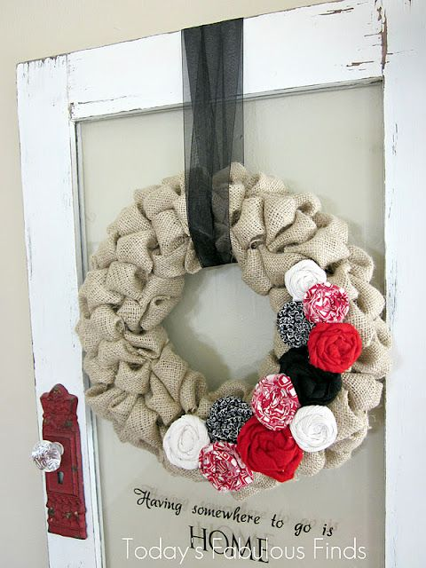 Love burlap wreaths...on my to do list! For February! And you could change out the rosettes for any month!