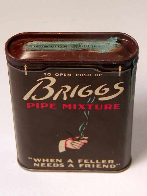 Vintage BRIGGS PIPE MIXTURE Tobacco Tin Smoking Lorillard USA Tax Stamp Hinged