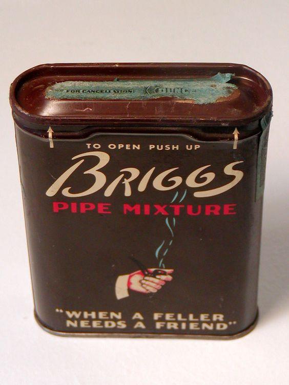 Vintage BRIGGS PIPE MIXTURE Tobacco Tin Smoking Lorillard USA Tax Stamp Hinged