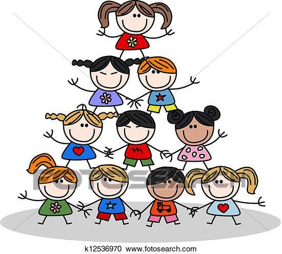 Teamwork Kids Ethnicity Clipart K12536970 Drawing For Kids Teamwork Sunday School Crafts