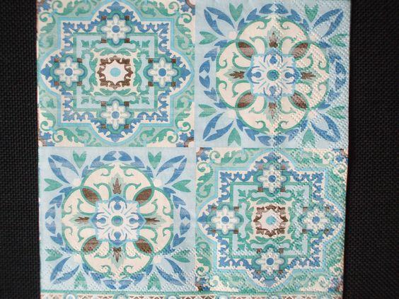 serviette en papier impression carreaux de ciment mosaque faence ancienne retro vintage - Faience Vert Et Blanc
