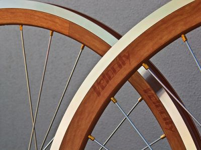 Velocity wood grain bike wheels